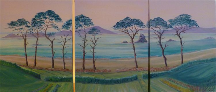 A Tresco Triptych Commissioned by T.Oddy, Cornwall