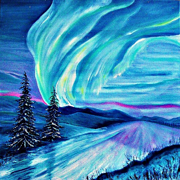 Landscape /northern Lights /aurora Borealis/oil Painting By Heatherbell  Barlow Enlarge