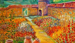 Walled Garden with Gladioli (sold,print available)